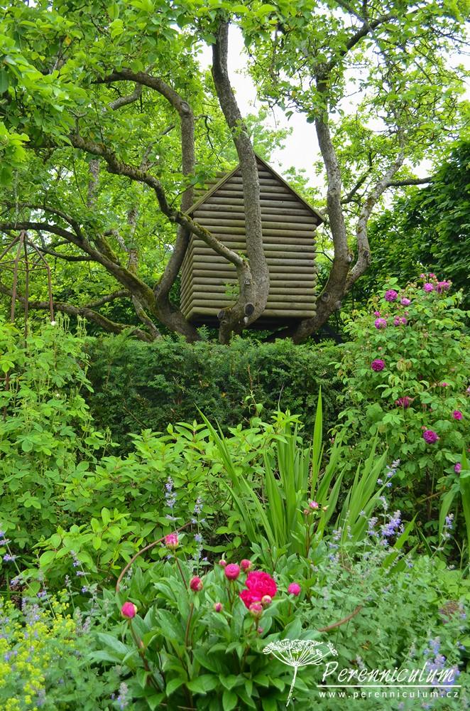 Zahrada skrývá i domek na stromě.